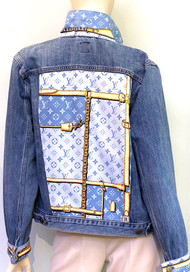 Designer Embellished Denim Jacket - Blue/Denim/Multi