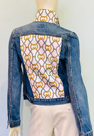 Designer Embellished Denim Jacket - Pink/Grey