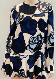 Marni Rose Printed Peplum Blouse