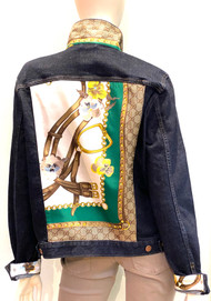 Designer Embellished Denim Jacket - Floral/Dark Denim
