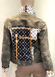 Designer Embellished Denim Jacket - Gold/Black/Camo