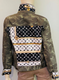 Designer Embellished Denim Jacket - Camo/Black/Gold