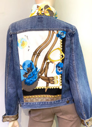 Designer Embellished Denim Jacket - Floral/Denim