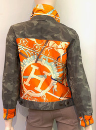Designer Embellished Denim Jacket - Orange/Camo/Multi