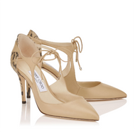 Jimmy Choo Vanessa Nude Nappa and Gloss Elaphe Pump
