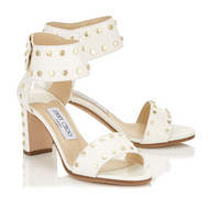 Jimmy Choo Veto Chalk Leather Sandal with Gold Studs