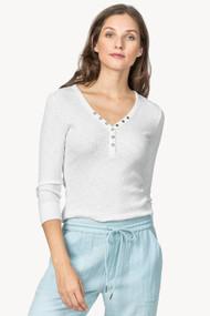 Lilla   P ¾ Length Sleeve Henley Tee in White