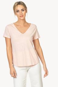 Lilla | P Short Sleeve V-neck Tee in Pale Blush