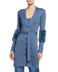 Sally LaPointe Belted Cardigan with Fur Trim