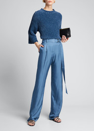 Sally LaPointe ¾ Length Sleeve Mock Neck Sweater