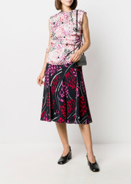 Marni Sleeveless Abstract Floral Top with Side Ruching