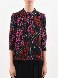 *COMING SOON* Marni ¾ Length Sleeve Abstract Print Top with Tie in Black