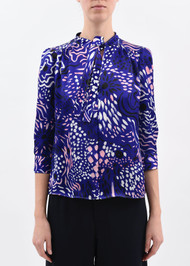 Marni ¾ Length Sleeve Abstract Print Top with Tie in Blue