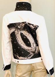 Designer Embellished Denim Jacket - Black/White/Multi