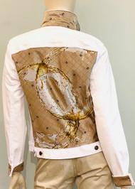 Designer Embellished Denim Jacket - Tan/White