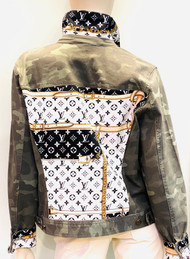 Designer Embellished Denim Jacket - Black/Camo