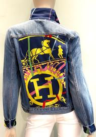 Designer Embellished Denim Jacket - Navy/Yellow/Denim