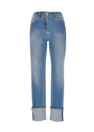 *PRE-ORDER* Fabiana Filippi Cuffed Embellished Hem Jeans in Stretch Denim