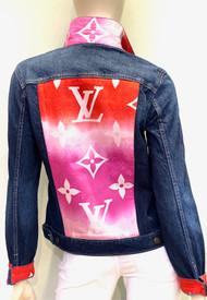 Designer Embellished Denim Jacket - Denim with Pink/Red