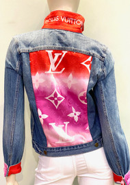 Designer Embellished Denim Jacket - Denim with Red/Pink
