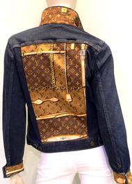 Designer Embellished Denim Jacket - Denim with Brown
