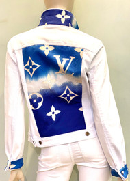 Designer Embellished Denim Jacket - Denim with Blue