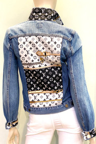 Designer Embellished Denim Jacket - Denim with White/Black/Gold