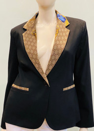 Designer Embellished Blazer - Blue/Black