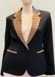 Designer Embellished Blazer - Blue/Black