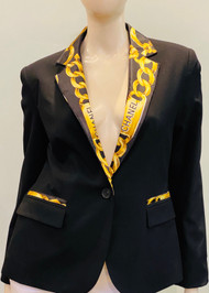 Designer Embellished Blazer - Black/Gold