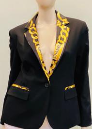 Designer Embellished Blazer - Black/Gold
