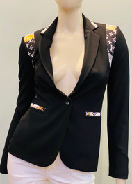Designer Embellished Blazer - Black/Gold/White
