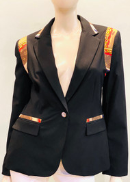 Designer Embellished Blazer - Black/Brown