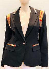 Designer Embellished Blazer - Black/Brown