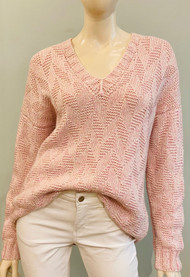Hania V-neck Sweater in New Pink