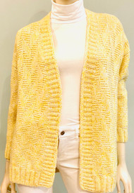 Hania Open Front Cardigan in Yellow