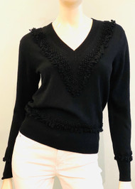 Barrie V-neck Cashmere Floral Embroidered Sweater in Black