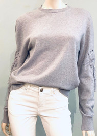 Barrie Cashmere Embroidered Sleeve Sweater in Coyote