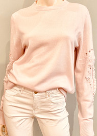 Barrie Cashmere Embroidered Sleeve Sweater in Dawn