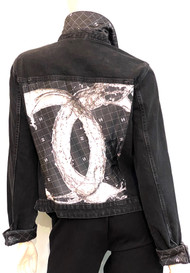 Designer Embellished Denim Jacket - Black Denim/White