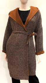Max Mara Wool Hooded Coat in Tobacco