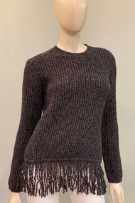 Max Mara Ribbed Knit Wool and Cashmere Fringed Hem Sweater