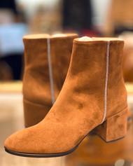 Fabiana Filippi Suede Embellished Block Heel Boots in Tan