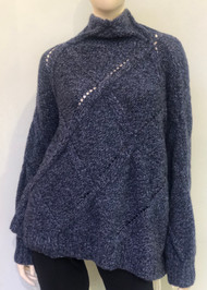 Hania Mock Turtleneck Knitted Sweater in Blue