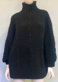 Hania Corey Cable Turtleneck Sweater in Black