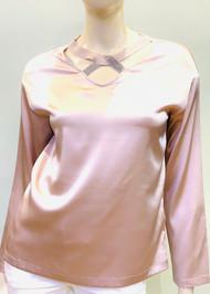Fabiana Filippi Embellished Crossover V-neck Silk Top in Pink
