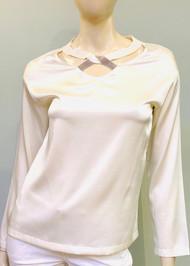 Fabiana Filippi Embellished Crossover V-neck Silk Top in White