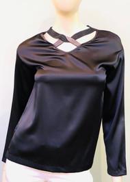 Fabiana Filippi Embellished Crossover V-neck Silk Top in Dark Grey