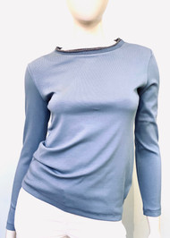 Fabiana Filippi Long Sleeve Fitted Embellished Neckline Top in Blue