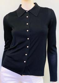 *PRE-ORDER* Carolina Herrera Button Down Knit Top in Black